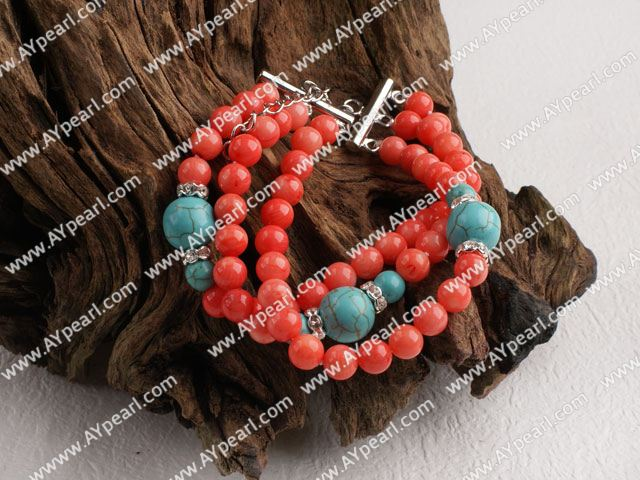 Beautiful 3 Strand Red Coral And Blue Turquoise Ball Beaded Bracelet