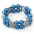 Wholesale double strand blue acrylic tibet silver bracelet
