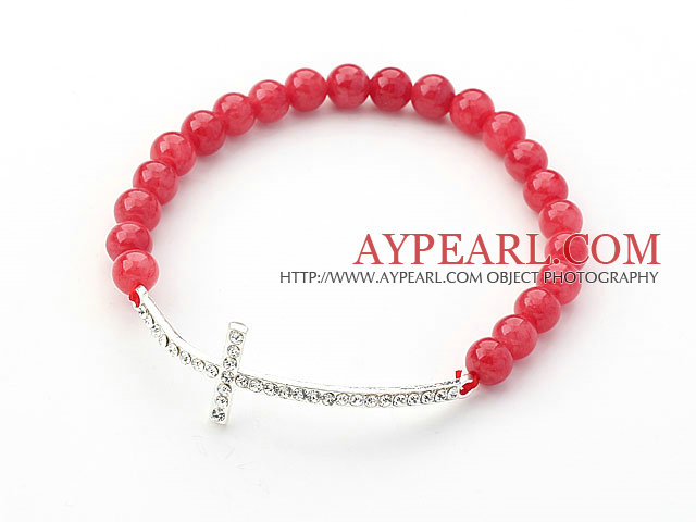 Red Series 6mm Red Jade and Sideway/Side Way White Rhinestone Cross Stretch Bracelet