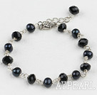 black pearl and crystal bracelet with extendable chain