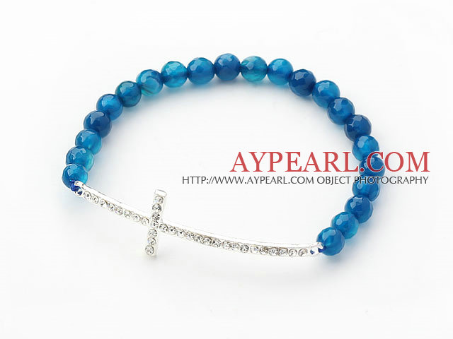 Dark Blue Series 6mm Blue Agate and Sideway/Side Way White Rhinestone Cross Stretch Bracelet