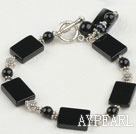 classical black agate bracelet with toggle clasp