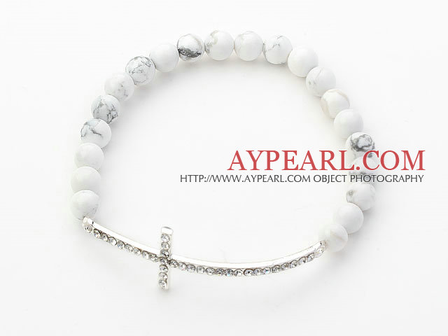 White Series 6mm Howlite and Sideway/Side Way White Rhinestone Cross Stretch Bracelet