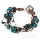 Wholesale multi strand phoenix stone black agate bracelet