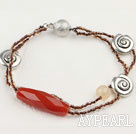 Nice 2-Strand Large Red Agate And Charm Beaded Bracelet With Ball Clasp
