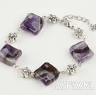 amethyst and charm bracelet with extendable chain