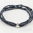 Wholesale elastic four strand black crystal and glass beads bracelet