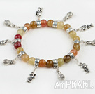 stretchy style three color jade bracelet with charms