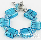Wholesale sea blue colored glaze and  crystal bracelet with toggle clasp