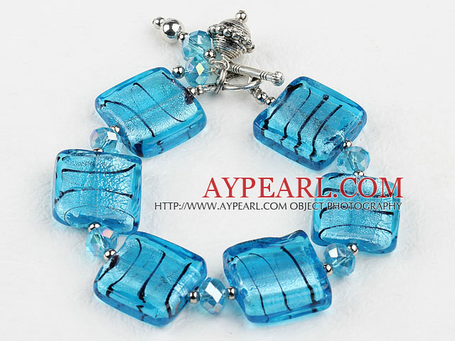 sea blue colored glaze and  crystal bracelet with toggle clasp