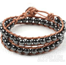 Wholesale Two Rows Round Hematite Beads Woven Wrap Bangle Bracelet with Metal Clasp