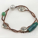 Wholesale green agate and charm bracelet