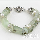 Wholesale popular white pearl and green jasper bracelet with moonlight clasp