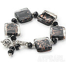 Wholesale brown colored glaze and  black crystal bracelet with toggle clasp