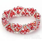 Wholesale Two Rows Red Jade Crystal Stretch Bangle Bracelet with Rhinestone