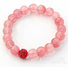 Wholesale Hot Pink Series 10mm Round Cherry Quartz and Rhinestone Beaded Stretch Bracelet