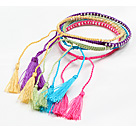 5 Discussion multi Pcs couleur tissé Bracelet cordon réglable Avec Charm Tassel