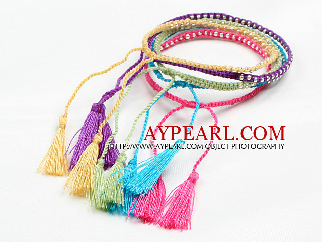 5 Pcs Multi Color Thread Woven Adjustable Drawstring Bracelet With Tassel Charm