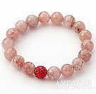 Wholesale Light Pink Series 10mm Round Strawberry Quartz and Rhinestone Beaded Stretch Bracelet