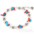 blue turquoise red coral chips bracelet with extendable chain