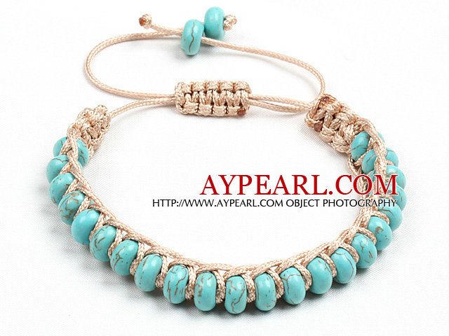 Classic Design Abacus Shape Turquoise Light Brown Thread Woven Adjustable Drawstring Bracelet