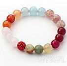 Assorted Multi Color Rose Quartz and Agate and Strawberry Quartz and Serpentine Jade and Rhinestone Beaded Stretch Bracelet