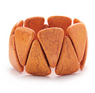 Big Style Triangle Shape Orange Color Turquoise Stretch Bangle Bracelet