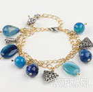 double strand blue agate bracelet with gold color  extendable chain