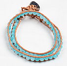 Fashion Style Sponge Kyanite Beads Wrap Bangle Bracelet
