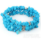 Wholesale multi strand blue turquoise chips bracelet
