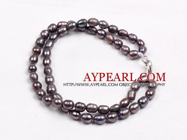 Elegant Double Layer Natural Black Freshwater Rice Pearl Bracelet
