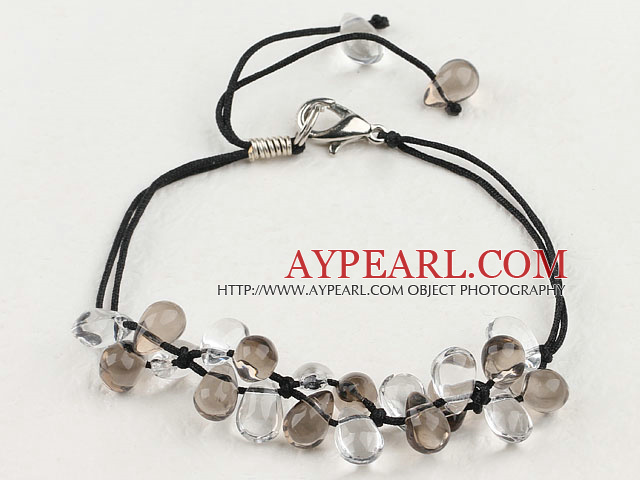 Elegant Manmade Teadrop White And Smoky Quartz Adjustable Drawstring Bracelet
