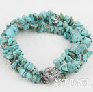 Fashion 3-Strand Chipped Blue Burst Pattern Bracelet With Multi-Row Clasp