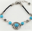 Vintage Round Blue Turquoise Donut Flower Metal Charm Bracelet With Extendable Chain