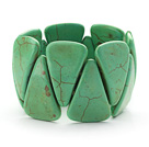 Wholesale Big Style Triangle Shape Grass Green Color Turquoise Stretch Bangle Bracelet