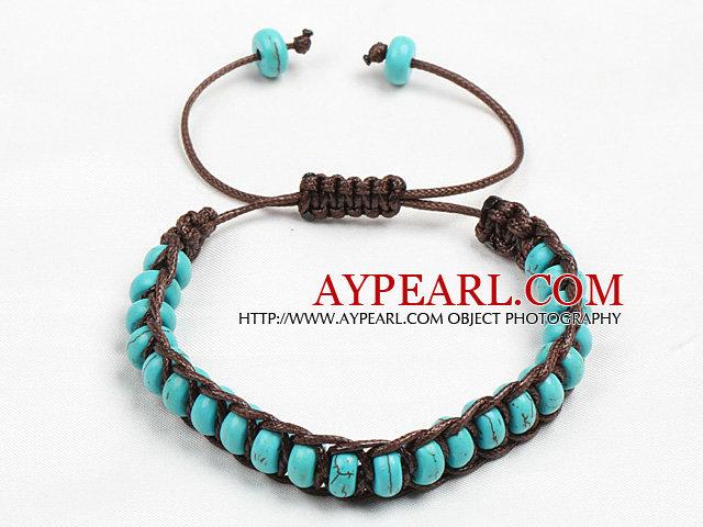 Classic Design Abacus Shape Turquoise Dark Brown Thread Woven Adjustable Drawstring Bracelet