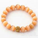 Wholesale 10mm Orange Color Cats Eye and Rhinestone Beaded Stretch Bracelet