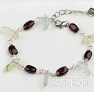 Wholesale Nice Teeth Shape Green Rutilated Quartz And Oval Garnet Loop Bracelet With Extendable Chain