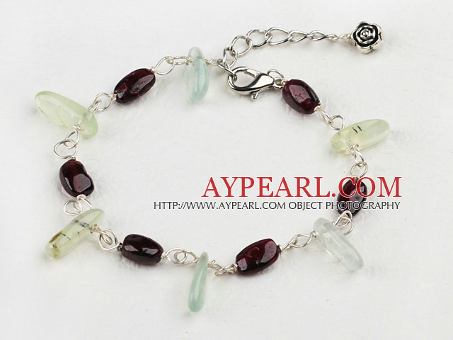 Nice Teeth Shape Green Rutilated Quartz And Oval Garnet Loop Bracelet With Extendable Chain