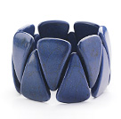 Wholesale Big Style Triangle Shape Dark Blue Color Turquoise Stretch Bangle Bracelet
