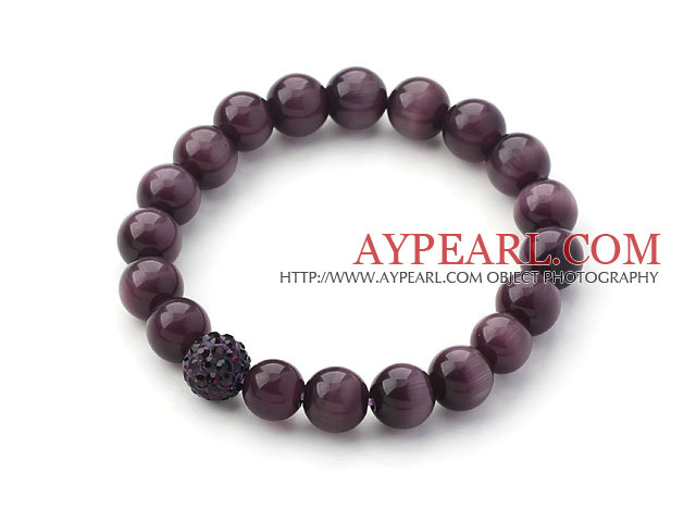 10mm Dark Purple Color Cats Eye and Rhinestone Beaded Stretch Bracelet