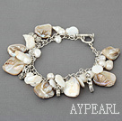 Wholesale white pearl and shell bracelet with toggle clasp