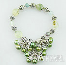 Wholesale Fashion Green Series Freshwater Pearl And Rutilated Quartz Cluster Metal Charm Bracelet