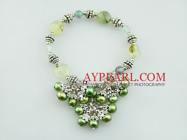 Fashion Green Series Freshwater Pearl And Rutilated Quartz Cluster Metal Charm Bracelet