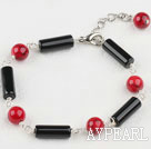 Elegant Round Bloodstone And Black Cylinder Shape Agate Bracelet With Extendable Chain