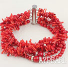 Wonderful Mixed Round And Teeth Shape Red Coral Necklace With Multi-Row Clasp
