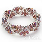 Two Rows Light Purple Jade Crystal Stretch Bangle Bracelet with Rhinestone