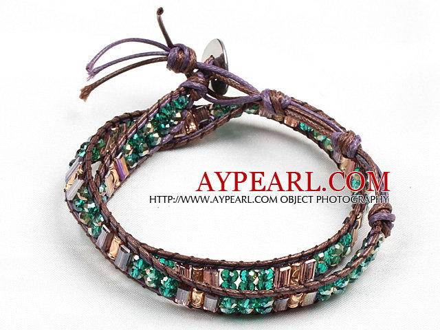 Fashion Style Green And Champagne Crystal Beads Wrap Bangle Bracelet