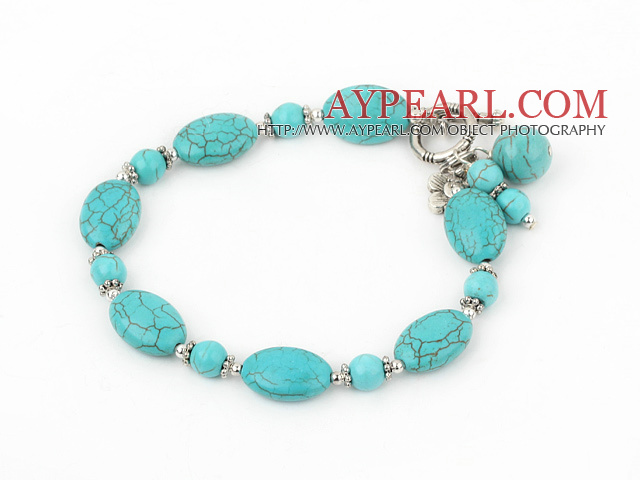 burst pattern turquoise bracelet with toggle clasp