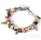 Wholesale irregular shape dyed colorful pearl bracelet with toggle clasp